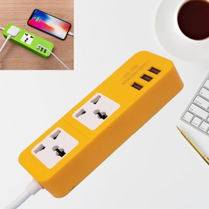 Good Quality Extension Power Socket With 3 USB Ports - Yellow