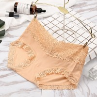 Comfortable Breathable Trend Double Lace Edge Mid Waist Ladies Underwear - Khaki