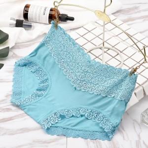Comfortable Breathable Trend Double Lace Edge Mid Waist Ladies Underwear - Sky Blue