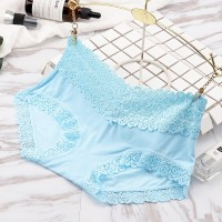 Comfortable Breathable Trend Double Lace Edge Mid Waist Ladies Underwear - Light Blue
