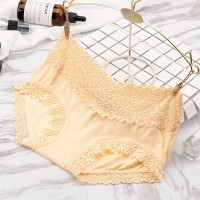Comfortable Breathable Trend Double Lace Edge Mid Waist Ladies Underwear - Skin
