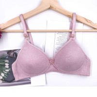Textured Floral Hook Closure Padded Bra - Pink