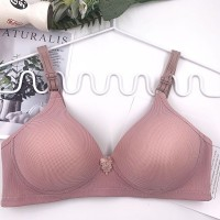Solid Hook Closure Nylon Casual Wear Bra - Rose Pink