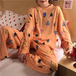 Round Neck Loose Printed Cartoonish Nightwear Pajama Sets - Orange