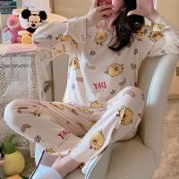 Cartoon Printed Round Neck Full Sleeves Pajama Nightwear Suit - White