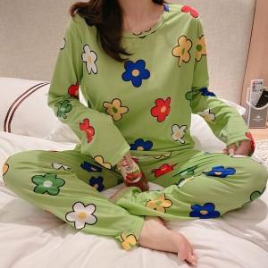 Floral Printed Round Neck Full Sleeves Pajama Nightwear Suit - Green