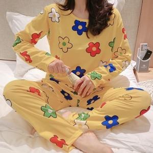 Floral Printed Round Neck Full Sleeves Pajama Nightwear Suit - Yellow