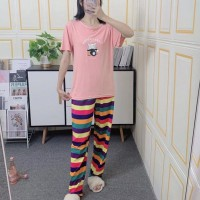 Round Neck Short Sleeved Top With Stripes Bottom Trousers - Pink