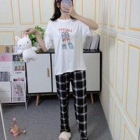 Cartoon Round Neck Short Sleeved Top With Checks Bottom Trousers - Black and White