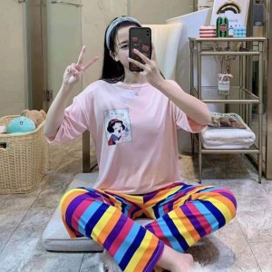 Cartoon Round Neck Short Sleeved Top With Checks Bottom Trousers - Pink