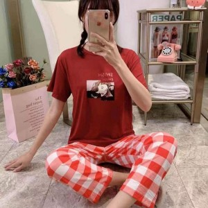 Watermelon Short Sleeved Round Neck Top With Checks Bottom Trousers - Red