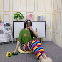Strawberry Short Sleeved Round Neck Top With Rainbow Bottom Trousers - Green