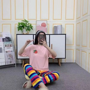 Strawberry Short Sleeved Round Neck Top With Rainbow Bottom Trousers - Pink