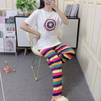 Short Sleeved Round Neck Top With Rainbow Bottom Trousers - White