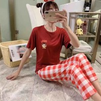 Cartoon Short Sleeved Round Neck Top With Checks Bottom Trousers - Red