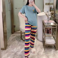 Cartoon Short Sleeved Round Neck Top With Rainbow Bottom Trousers - Green