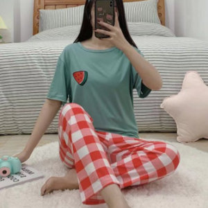 Watermelon Short Sleeved Round Neck Top With Checks Bottom Trousers - Green