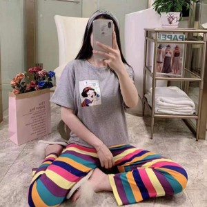 Short Sleeved Round Neck Top With Rainbow Bottom Trousers - Light Gray