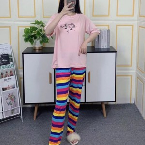 Short Sleeved Round Neck Top With Rainbow Bottom Trousers - Light Pink