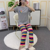 Short Sleeved Round Neck Top With Rainbow Bottom Trousers - Gray