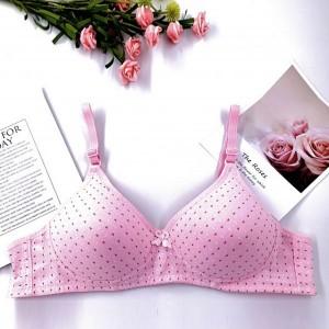 Dotted Pattern Padded Hook Closure Women Fashion Bra - Candy Pink