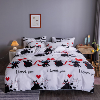 Black Cat Design Print Queen / Double Size Bed Sheet With Duvet Cover Set of 6 Pieces