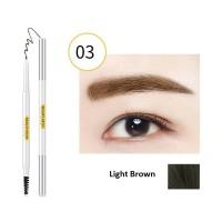 2 In 1 Natural Waterproof Long Lasting Eyebrow Liner 03 - Light Brown