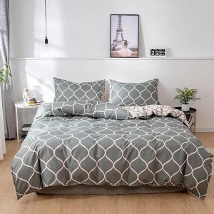 Geometric Printed Design King Size Duvet Cover Bed Sheet Set of 6 Pieces