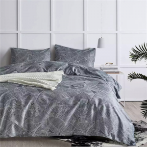 Leaves Printed Design King Size Duvet Cover Bed Sheet Set of 6 Pieces
