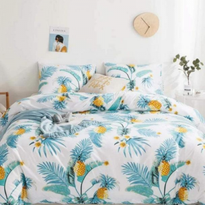 Leaves Design Print Queen / Double Size Bed Sheet With Duvet Cover Set of 6 Pieces