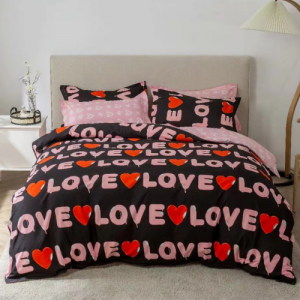 Alphabetic Printed Design King Size Duvet Cover Bed Sheet Set of 6 Pieces