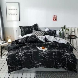 Marble Design Print Queen / Double Size Bed Sheet With Duvet Cover Set of 6 Pieces