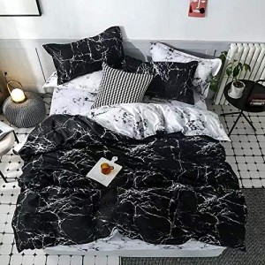 Marble Design Printed Single Size Duvet Cover Bed Sheet Set of 4 Pieces