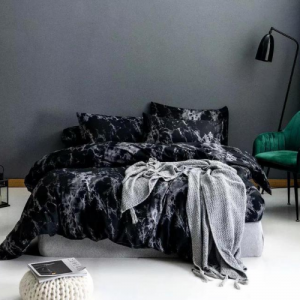 Black Marble Design Print Queen / Double Size Bed Sheet With Duvet Cover Set of 6 Pieces