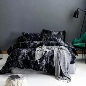 Black Marble Design King Size Duvet Cover Bed Sheet Set of 6 Pieces