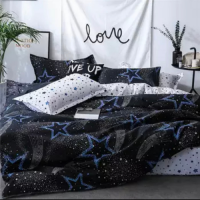 Stars Design Print Queen / Double Size Bed Sheet With Duvet Cover Set of 6 Pieces