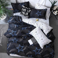 Stars Design Printed Single Size Duvet Cover Bed Sheet Set of 4 Pieces