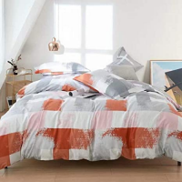 Gemoetric Design Print Queen / Double Size Bed Sheet With Duvet Cover Set of 6 Pieces