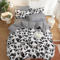 Cute Panda Design Printed Single Size Duvet Cover Bed Sheet Set of 4 Pieces
