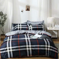 Geometric Design Print Queen / Double Size Bed Sheet With Duvet Cover Set of 6 Pieces