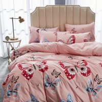 Butterfly Design Print Queen / Double Size Bed Sheet With Duvet Cover Set of 6 Pieces