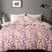 Pink Hearts Design Print Queen / Double Size Bed Sheet With Duvet Cover Set of 6 Pieces