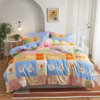 Bunny Design Queen / Double Size Bed Sheet With Duvet Cover Set of 6 Pieces