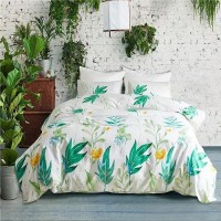 Green Leaves Design Queen / Double Size Bed Sheet With Duvet Cover Set of 6 Pieces