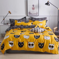 Cute Cat Design Queen / Double Size Bed Sheet With Duvet Cover Set of 6 Pieces