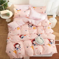 Cute Girl Design Printed Single Size Duvet Cover Bed Sheet Set of 4 Pieces