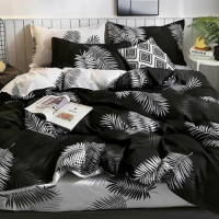 White Leaves Design Queen / Double Size Bed Sheet With Duvet Cover Set of 6 Pieces