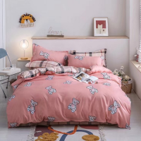 Cute Bear Design Queen / Double Size Bed Sheet With Duvet Cover Set of 6 Pieces