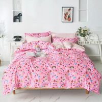 Flowers Design Printed Single Size Duvet Cover Bed Sheet Set of 4 Pieces