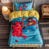 3D Cartoon Design Printed Single Size Duvet Cover Bed Sheet Set of 4 Pieces